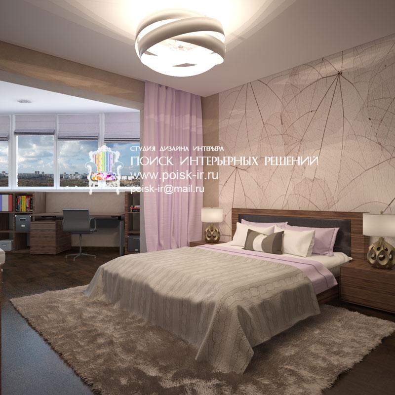 С лоджией - дизайн интерьера спальни фото.