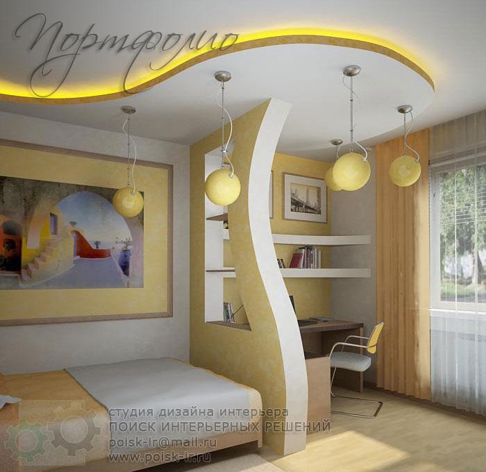 Дизайн комнаты с перегородкой из гипсокартона фото