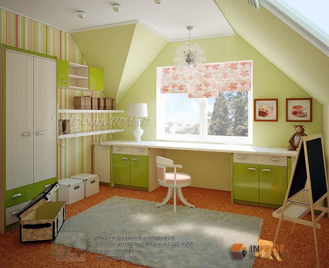 детская комната со скошенным потолком интерьер днем защитника отечества