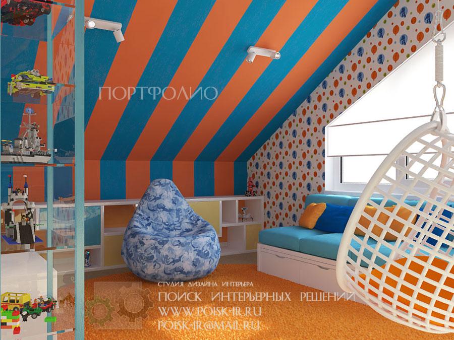 Дизайн мансардного этажа детская