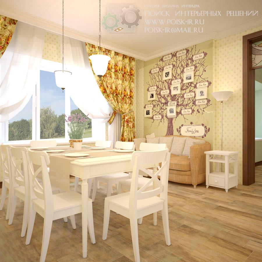 Дизайн кухни столовой в стиле прованса
