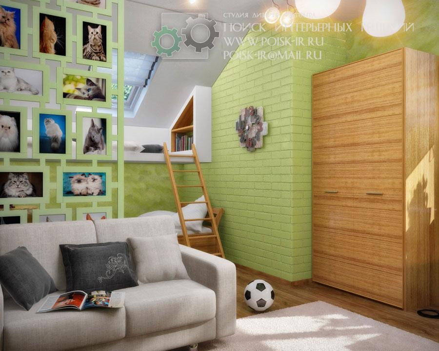 акушерства детская комната со скошенным потолком интерьер любых