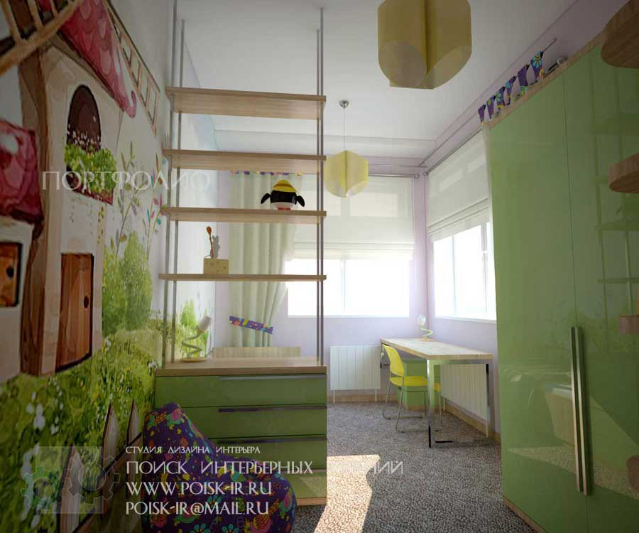Детская комната с двумя окнами на разных стенах дизайн