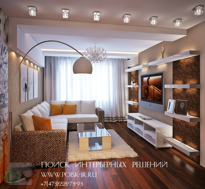 Узкие гостиные фото дизайн