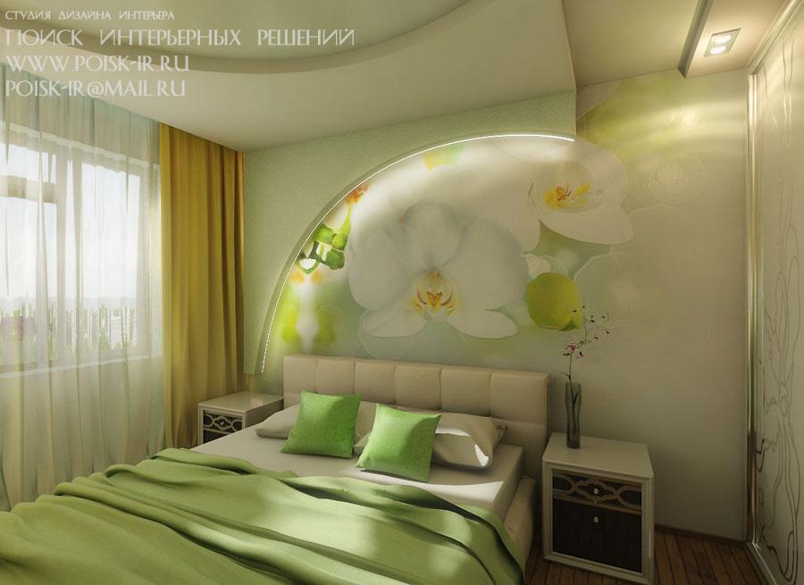 Фото цветка в спальне на стене