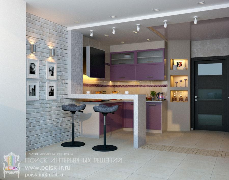 Дизайн кухни с барной стойкой 30 кв.м