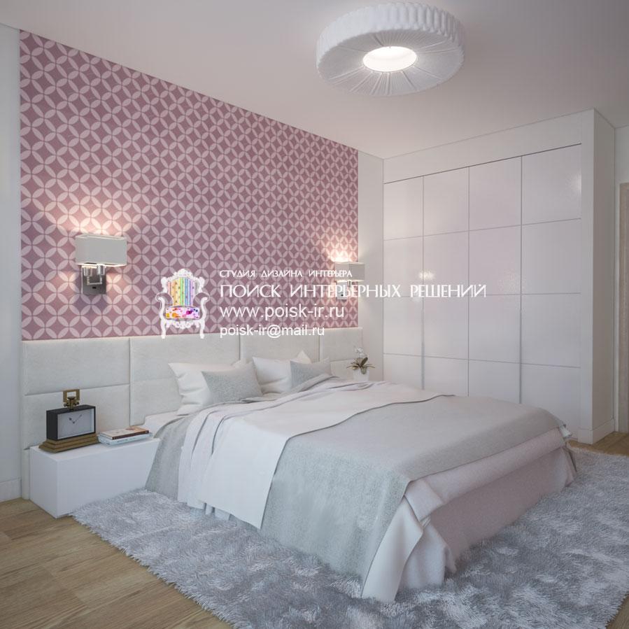 Спальня с коричневыми обоями и светлой мебелью