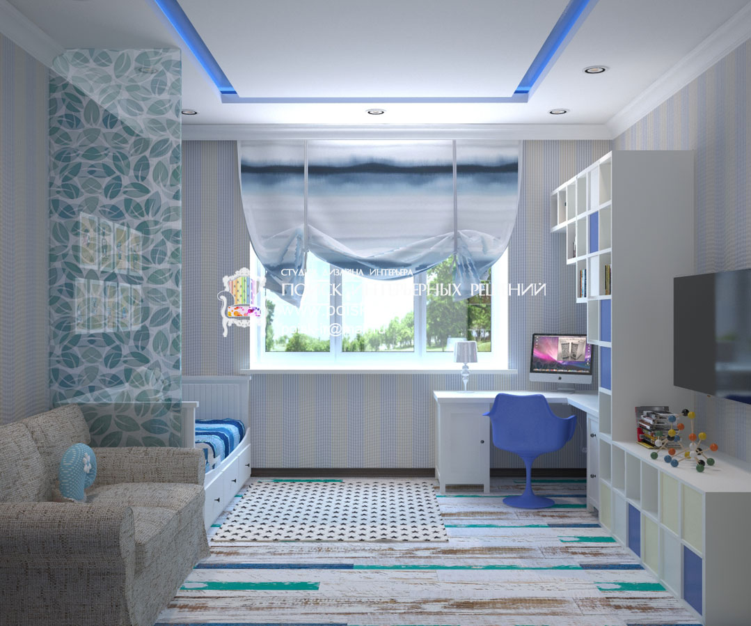 Дизайн лоджии совмещенной с детской комнатой.