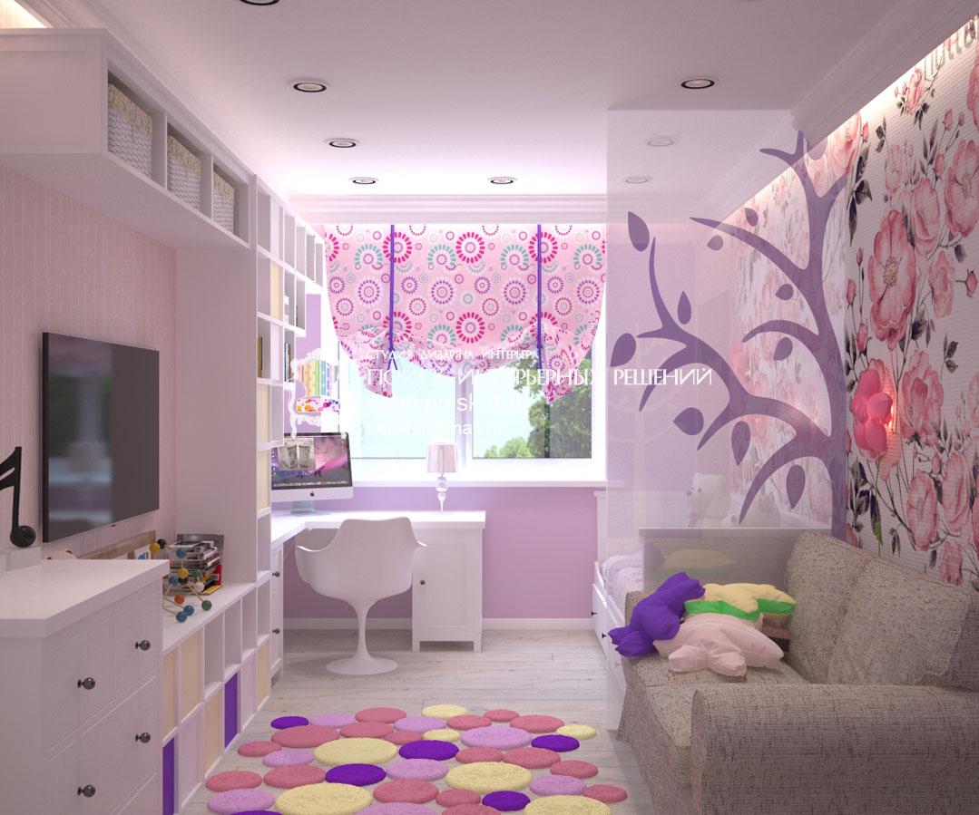Дизайн детских комнат с балконом для девочек.