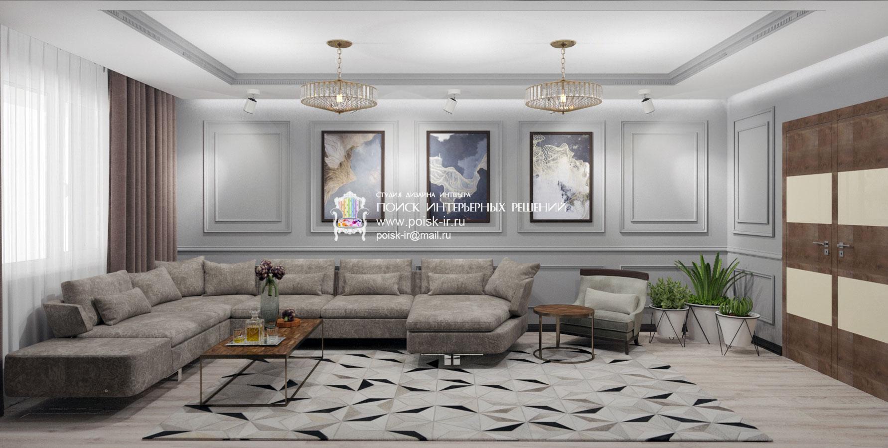 Дизайны черно серых гостиных