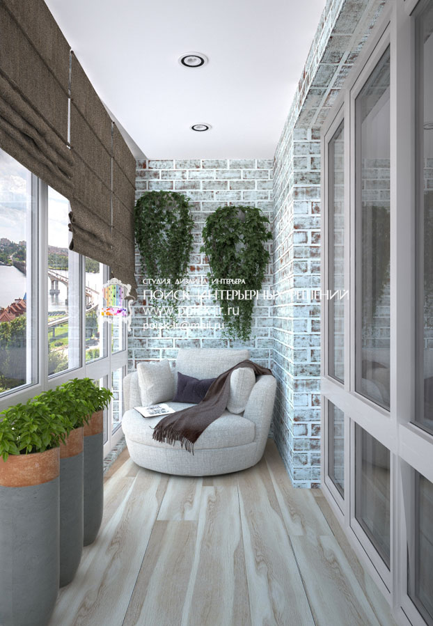Хай-тек - дизайн балкона и лоджии фото.