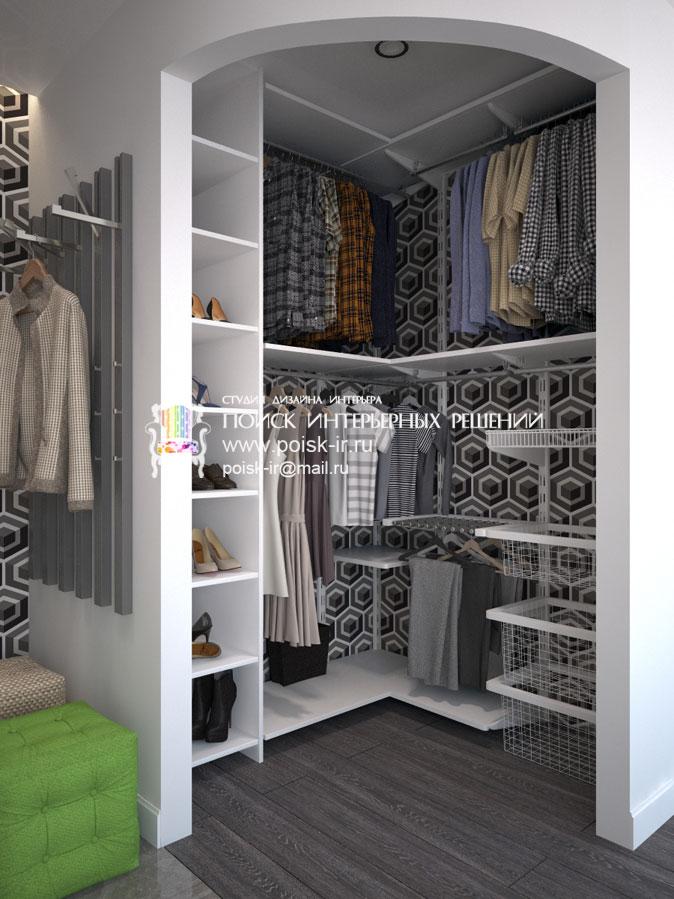 Холодные тона - дизайн гардеробных в квартирах и домах фото.