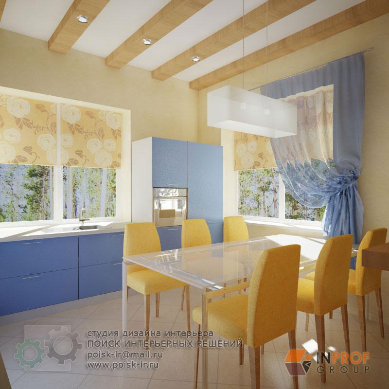 кухня в сине-бежевых тонах фото
