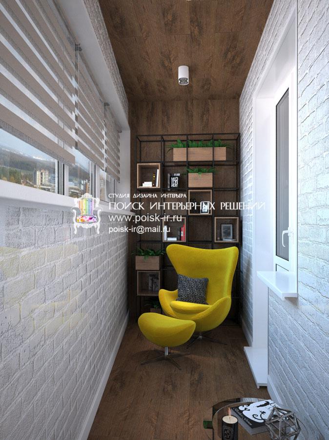 Декоративный камень/кирпич - дизайн балкона и лоджии фото.