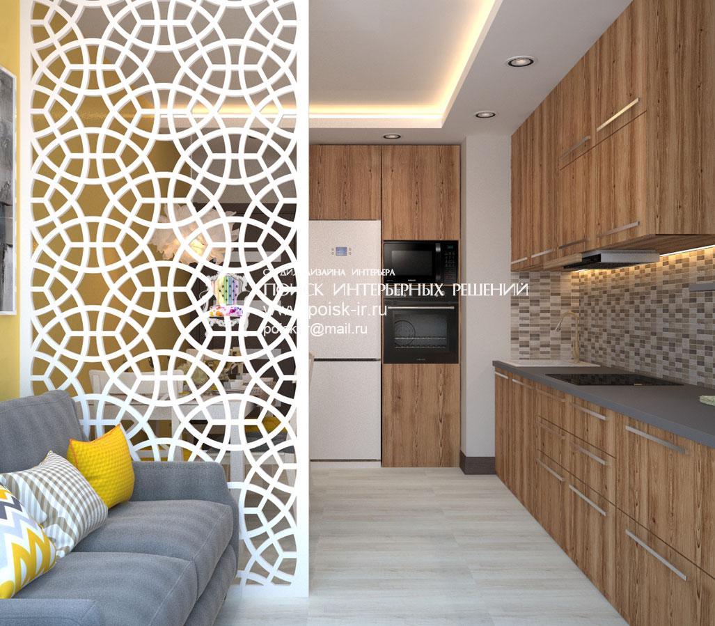 Интерьер совмещенной гостиной и кухни в коттедже 181