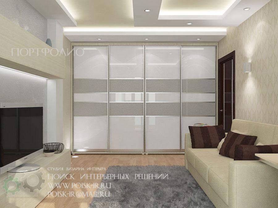 Дизайн гостиной 20 кв.м со шкафом-купе