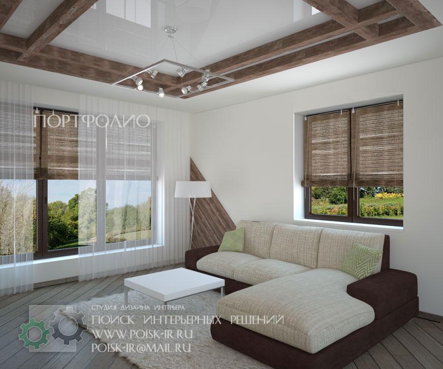 Дизайн потолки из бруса