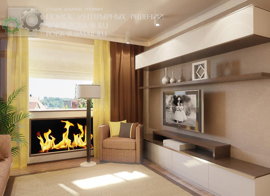 Дизайн зала 20 кв.м с камином