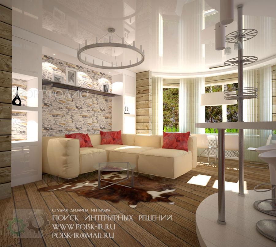 Интерьер совмещенной гостиной и кухни в коттедже 26