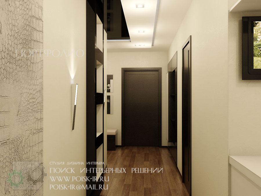 Интерьер коридора черный с белым