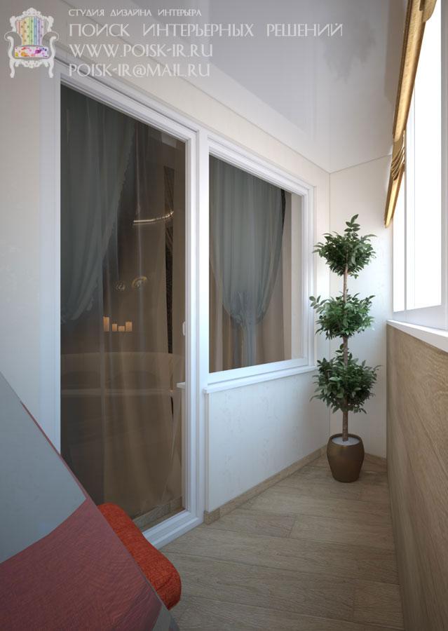 Дизайн балкона неправильной формы.