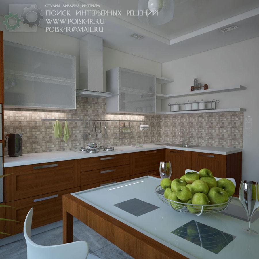 Дизайн бело серой кухни