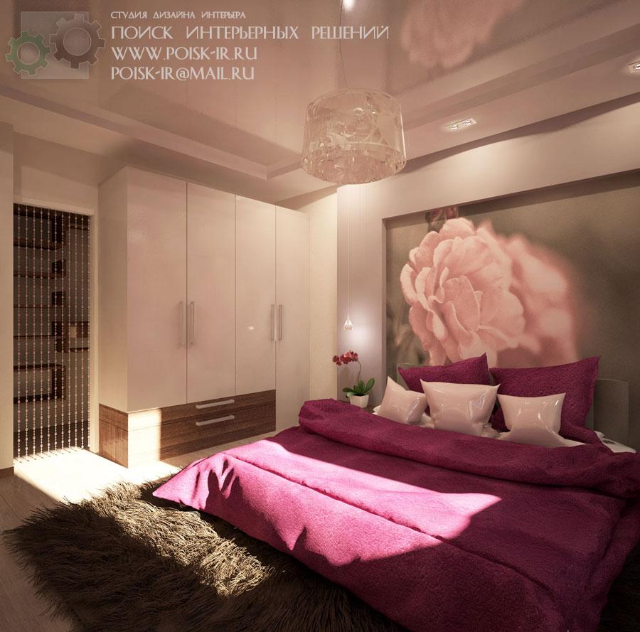Интерьер спален с розой фото
