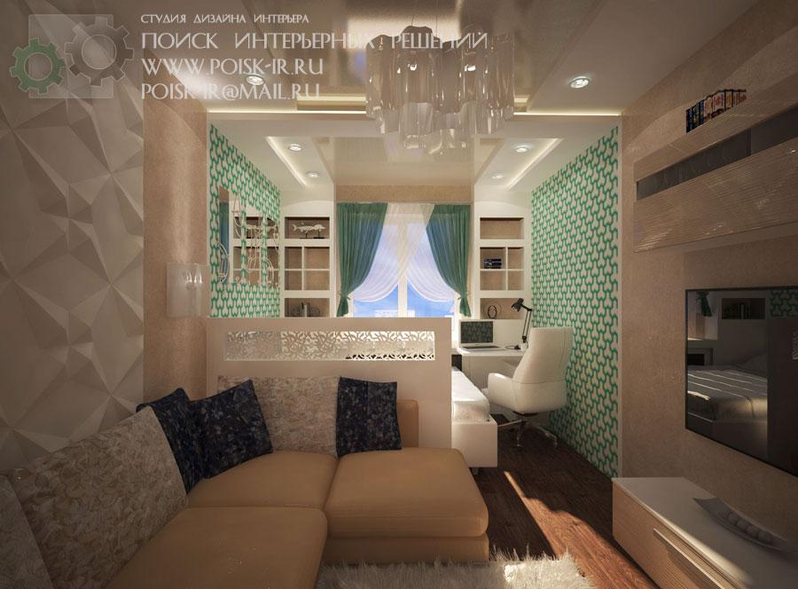 Гостиная-спальня - дизайн интерьера спальни фото.