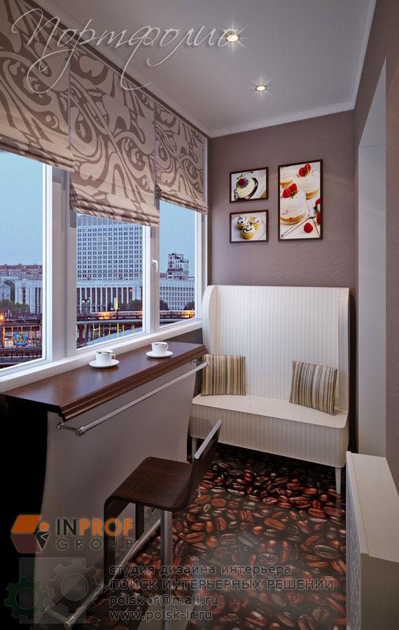Холодные тона - дизайн балкона и лоджии фото.