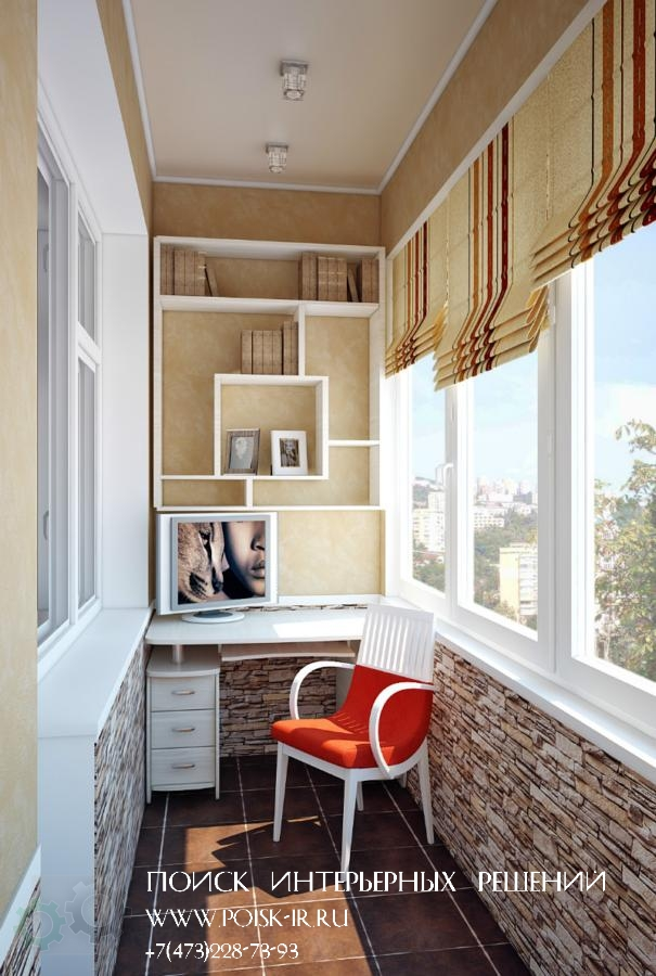С креслами - дизайн балкона и лоджии фото.