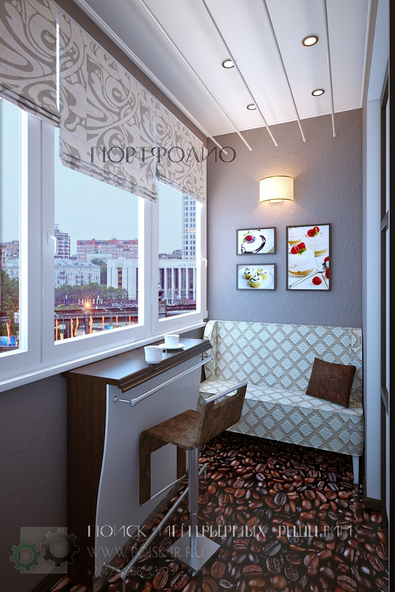 Кухня с продлением панорамного балкон.