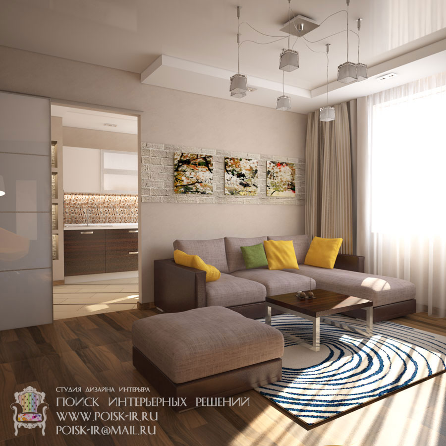 Гостиные-кухни-холлы - дизайн интерьера гостиной фото.