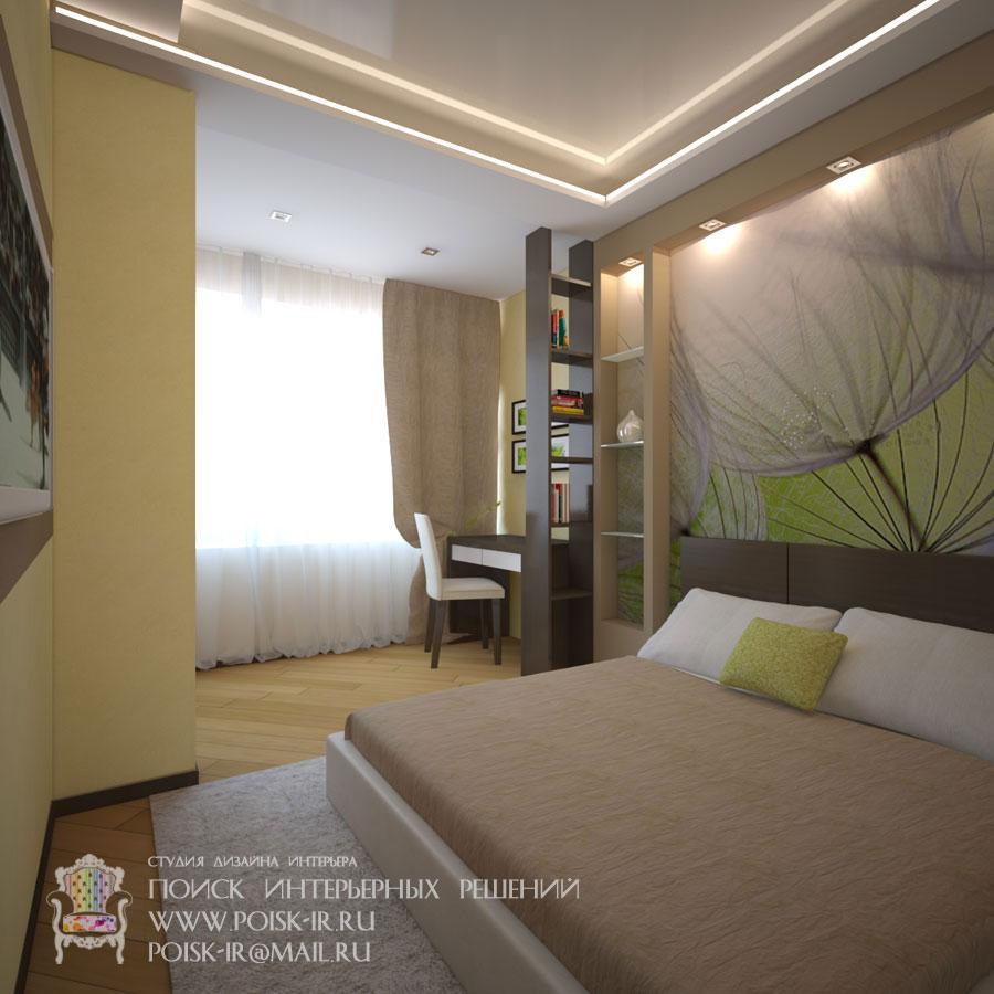 Ниши-полки - дизайн интерьера спальни фото.