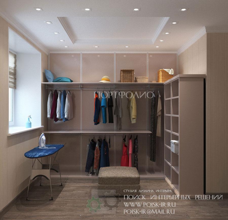 С окном - дизайн гардеробных в квартирах и домах фото.