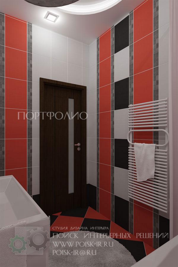 Дизайн ванной комнаты в красном и черном