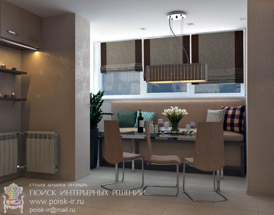 Рулонные/римские шторы - дизайн интерьера кухни проекты - ст.