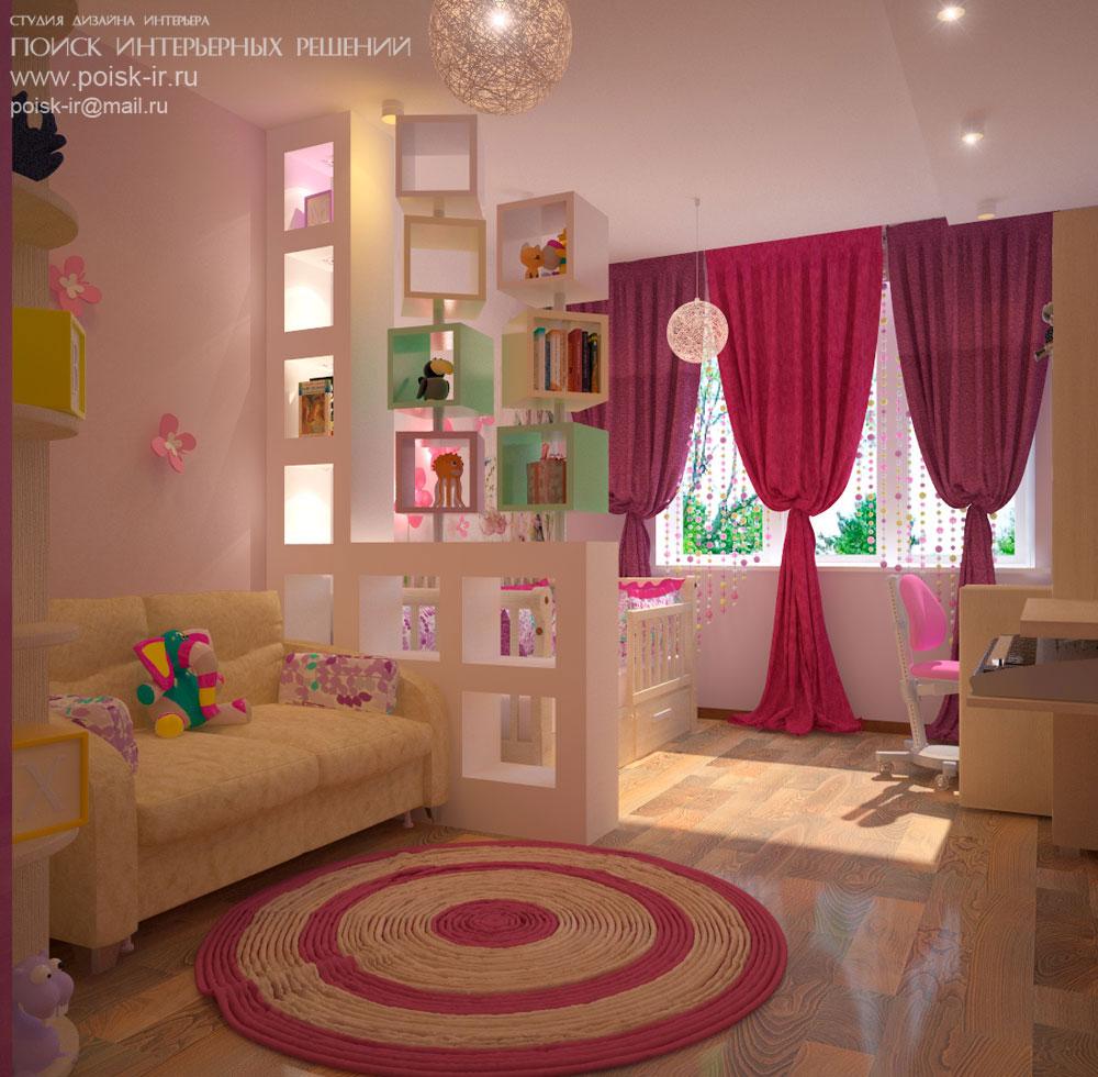 С диваном - дизайн интерьера детских комнат фото.