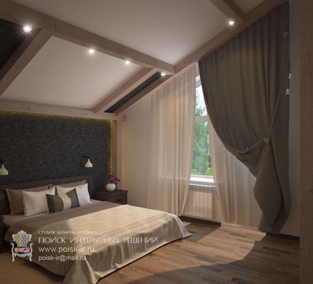 На мансарде - дизайн интерьера спальни фото.