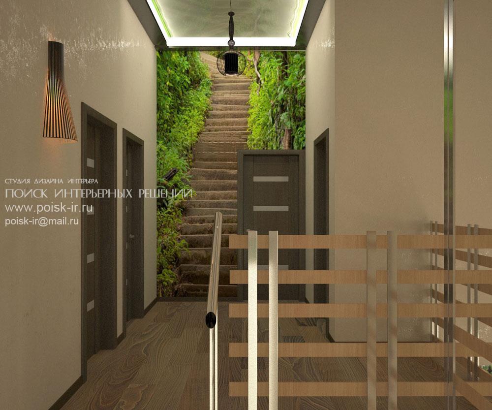 Дизайн лестницы с кованными перилами