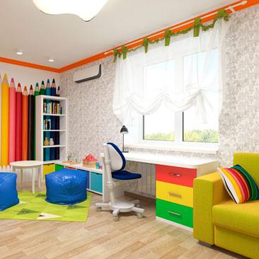 Дизайн комнаты детской с яркими акцентами фото галерея