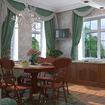 Кухня классическая с диваном - дизайн и фото.
