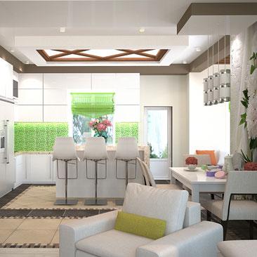 Дизайн совмещенной кухни с гостиной с эркером.