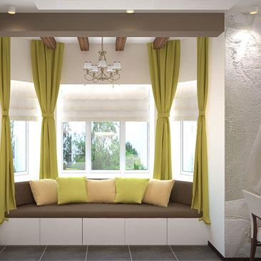 Интерьер кухни, совмещенной со столовой и гостиной.