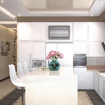 Дизайн интерьера кухонь-гостиных-столовых.