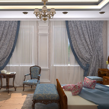 Спальня с двумя окнами, интерьер