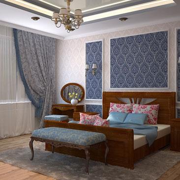 Спальня классическая с двумя окнами на одной стене