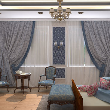 интерьер спальни с 2 окнами классика