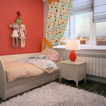 Дизайн крохотной детской для девочки фото интерьеров. Стены выкрашены в красный и бежевый цвет в интерьере маленькой детской для девочки. Бежевый ковер с ворсом в сочетании с бежевой классической мебелью в интерьере красно-белой детской. Кровать с выдвижными ящиками в интерьере детской девочки фото. Дизайн детских комнат в Иваново.