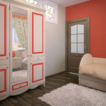 """Дизайн детских комнат Краснодар. Дизайн детской в холодных бело-красных тонах. Классический платяной шкаф в интерьере детской с красными стенами. Красные стены в интерьере детской комнаты фото. Бежевая классическая мебель, дверь """"Тёмный Дуб"""" со стеклом, тёмный ламинат и бежево-красные стены в детском интерьере. Дизайн детской в классическом стиле с красными стенами. Дизайн детской в классическом стиле со светлой мебелью и тёмным полом."""