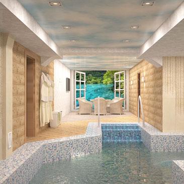 Бассейн в частном доме - дизайн интерьера.
